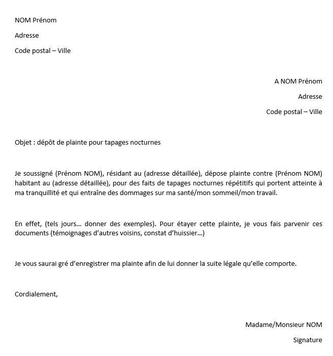 modele lettre pour plainte nuisance sonore